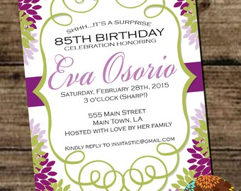 1st birthday girl pink and gold theme 1st birthday party 85th birthday floral milestone birthday invitation 30th 40th 50th 60th 70th filmwisefo Choice Image
