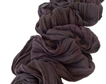 Brown silk scarf, brown scarves, brown chiffon scarf, womens scarves, brown crinkle scarf, trending now, brown scarf, crinkle chiffon scarf