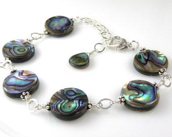 Abalone Bracelet, Blue Shell Bracelet, Teal Paua Bracelet, Sterling Silver, Round Disc Shell Beach Jewelry, Handmade Beach Jewelry Gift