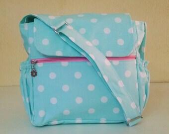 Small Messenger Diaper Bag Stripe/light blue point!!