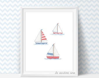 Ocean nursery decor, Nautical baby room art, watercolor boat wall art, Nautical theme decor, Beach nursery, Nursery printable #0034A