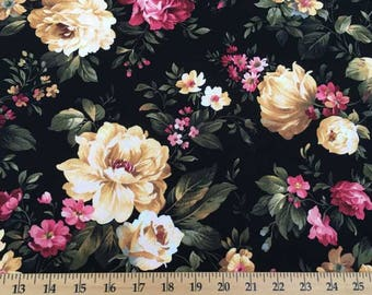 Black Cottage Rose Peony Romantic Shabby Chic Floral Roses Flower Fabric t1/39