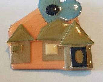 Vintage House Pin by Lucinda, House pin by Lucinda, Pin by Lucinda, by Lucinda, House Pin