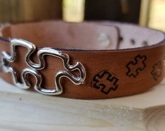 Autism Awareness Embossed Leather Bracelet Adorned With Puzzle Piece Charm. women's, feminine, puzzle, narrow, Mother's Day, FREE SHIPPING