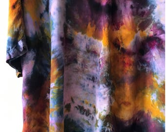 Hand Dyed V-Neck Blouse in Galaxy, Bat Wing, Anna Joyce, Portland, Or Limited Edition