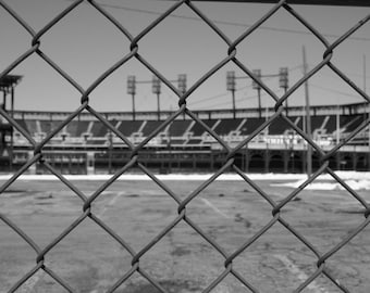 Comerica Ballpark, Home of the Detroit Tigers, 5x7, black and white, fine art print, gift for dads