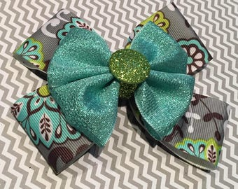 Green and Turquoise Floral Bow