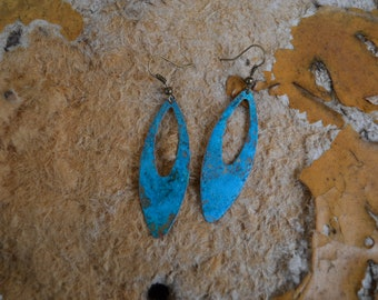 Brass patina earrings,Vintage earrings,Minimal earrings,Boho earrings,Handmade jewelry, Turquoise Earrings,Leaves