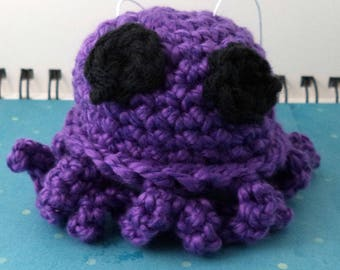 Crocheted Purple Octopus Plush with Black Eyes