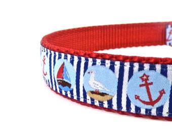 nautical dog collar, sailboat dog collar, pelican dog collar, summer dog collar