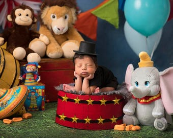 Dumbo Circus/Carnival with Balloons and Animals, Ringmaster Digital Background/Digital Backdrop/Overlay
