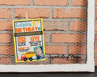Under Construction Birthday Party Invitation - Diggers and Dump Trucks - Transportation - Construction Theme - Printable Invitation
