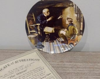 1988 Collectible Norman Rockwell The Veteran, Rockwell Heritage Collection, Norman Rockwell plates