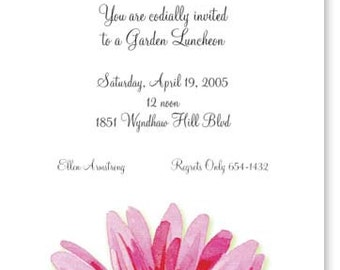 Gerber Daisy Bridal Shower Invitation - Imprintable Package of 10 with Envelopes