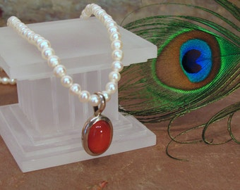 Classic Pearl Necklace with Enhancer ~ Round White Freshwater Cultured Pearls with Removable Carnelian Pendant ~ 20 inches