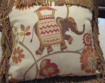 Elephant Tapestry Pillow Cover with Bouillon Trim