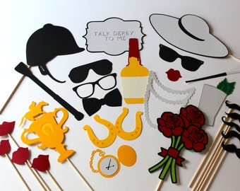 Kentucky Derby Photo Booth Props - Horse Racing Photobooth Prop Set of 26 includes Roses, Trophy, Jockey Hat, Mint Julep, Bourbon, and Horse