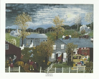 Halloween, Grandma Moses, Early American Folk Painting, October, Primitive Americana Art, New England, Americana, Archival