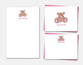 Personalized Stationery Set - Teddy Bear Stationery - Teddy Bear Note Cards - Teddy Bear Notepad - Custom Stationery for Girls