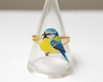 Hand drawn Blue Tit ring