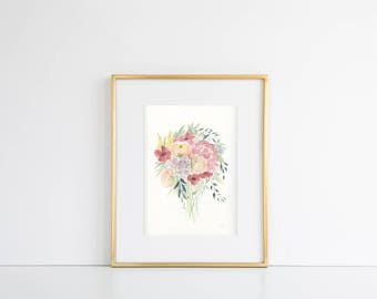 Original Watercolor of Loose Floral Bouquet
