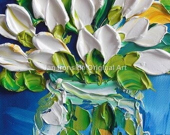 Still life Oil Painting White tulips Impasto Painting Small Painting Home Decor