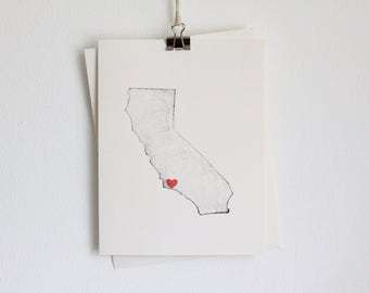 California State Greeting Card / Heart in California / Gift for Her / Thank You Cards / Handmade Card / Wedding Card / Moving to California