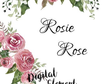 Rose Watercolor Clip-art, Watercolor Rose Clip-art, Watercolor Pink Rosa Clip-art, Scrapbook Clip-art with Roses. No. WC64