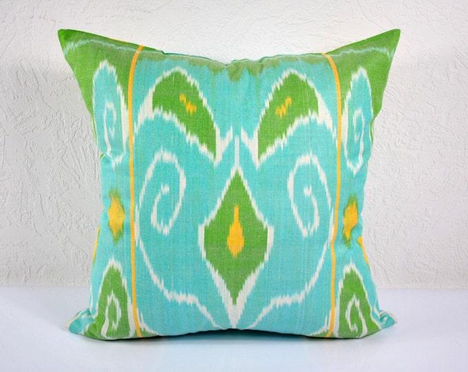 Ikat Pillow, Hand Woven Ikat Pillow Cover  IP74 (a401-1AA3), Ikat throw pillows, Designer pillows, Decorative pillows, Accent pillows