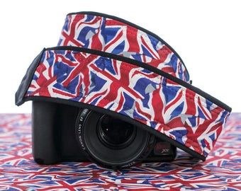 Camera Strap, Flags, Union Jack, UK, dSLR, Camera Neck Strap, Canon camera strap, Nikon camera strap, Men's, Women's,  273