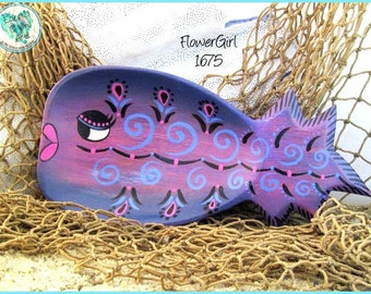 "Purple Tropical Fish Trinket Tray, Handpainted Wood, *purple, pink, blue, black* 1675 ""Flower Girl"""