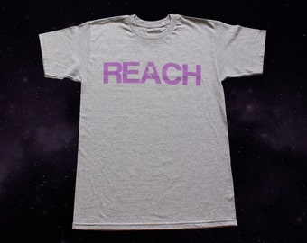 The REACH / ESCAPE Parkour T-Shirt - Athletic Grey with Lilac print