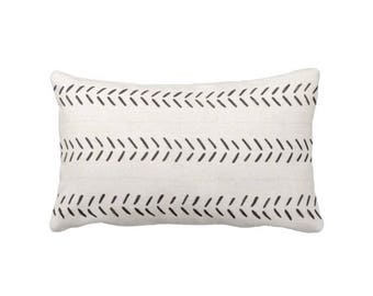 """Mud Cloth Throw Pillow/Cover, Off-White/Black Arrows Print 14 x 20"""" Lumbar OUTDOOR or INDOOR Pillows/Covers, Mudcloth/Tribal/Geometric/Geo"""