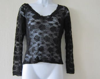 Vintage Italian Lacy Black Top