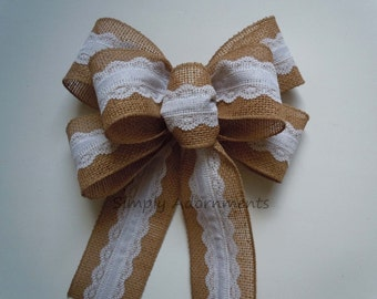 Vintage Lace Burlap Wedding Bow Shabby Chic Burlap Lace Wedding Pew Bow Rustic Burlap Bow Burlap Gift Wrap Bow Burlap White Lace Wreath bow