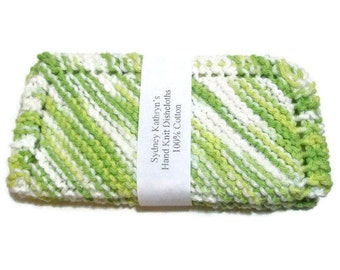 Hand Knit Dishcloths Key Lime Pie Green and White