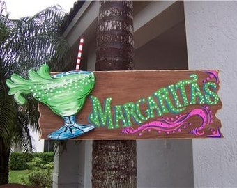 Tropical Margaritas Wood Sign