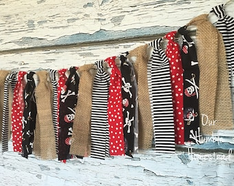 Pirate Fabric Banner - Birthday Banner, Fabric Bunting, Garland