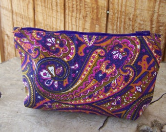 2 Tone Canvas Zippered Pouch in Purple Paisley and Tan, Medium Size