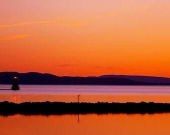 "Landscape Photo, Lake Champlain Lighthouse, ""A Certain Slant of Light"""