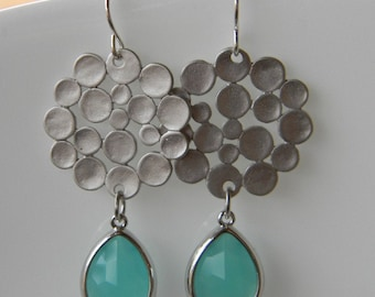 Silver Bubble and Aqua Turquoise Earrings Jewelry-Bride-Bridal