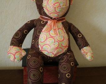Plush monkey Handmade fabric