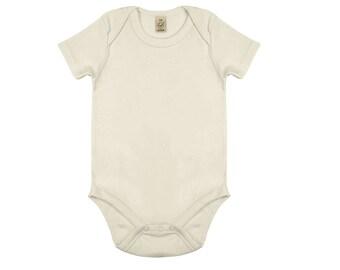 100% Organic Cotton Beige Baby Grow