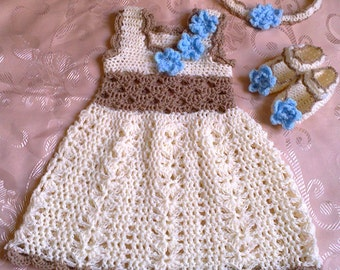 crochet baby dress, baby girl dress, crochet girl dress, infant dress crochet, newborn baby dress, cream brown dress