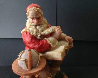 Saint Nicholas & Me Resin Santa Claus with Globe and Big Book 1994