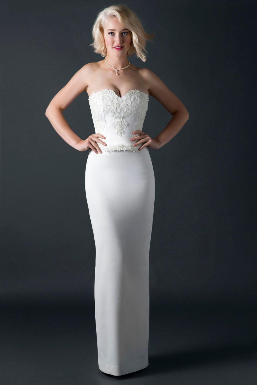 Bleistift Hochzeitskleid schlichtes Brautkleid