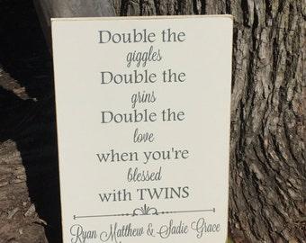 Twins Sign ~Twin Baby Gifts ~Twin Nursery Decor Custom Wood Sign~Boy Girl Twins~Because Twins ~Twin Gift~Twin Baby Shower~Twin Nursery Art ~