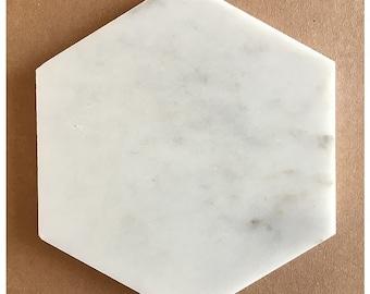 """Carrara Marble Hexagon Tiles, 6"""""""
