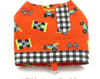 Dog Harness, Dog fashion, harness for Small Dog, Dog Vest, custom dog harness, boy dogs,  Race Cars, Orange