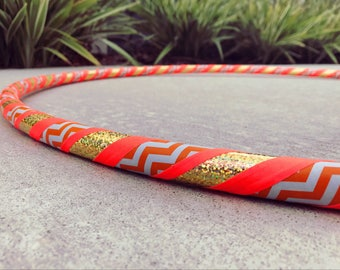 Beginner Hula Hoop // Orange Chevron & Gold Dance Hoop // Handmade Fitness Hoop